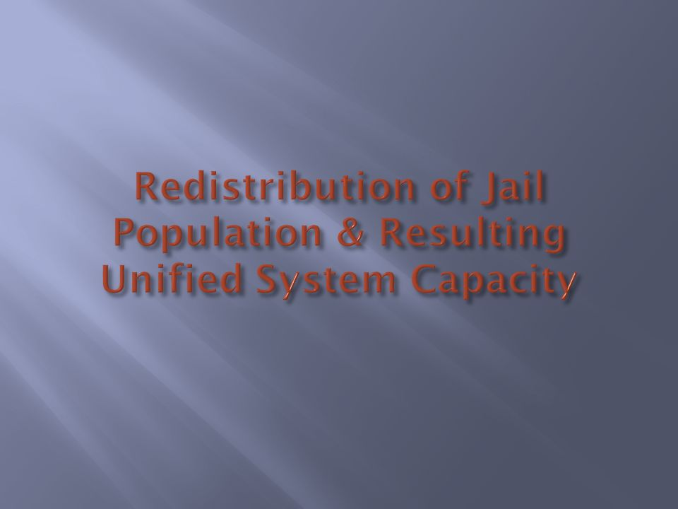 Redistribution of Jail Population & Resulting Unified System Capacity