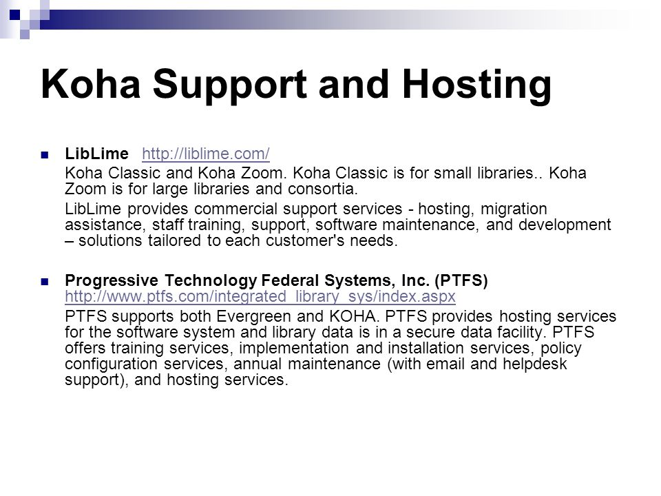 Koha Support and Hosting
