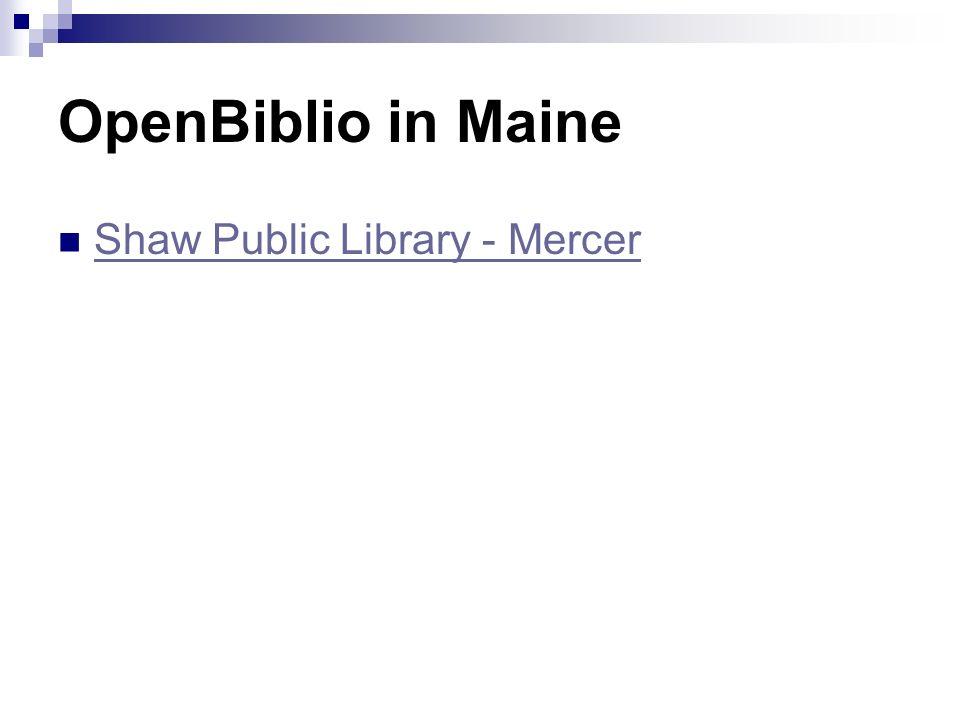 OpenBiblio in Maine Shaw Public Library - Mercer