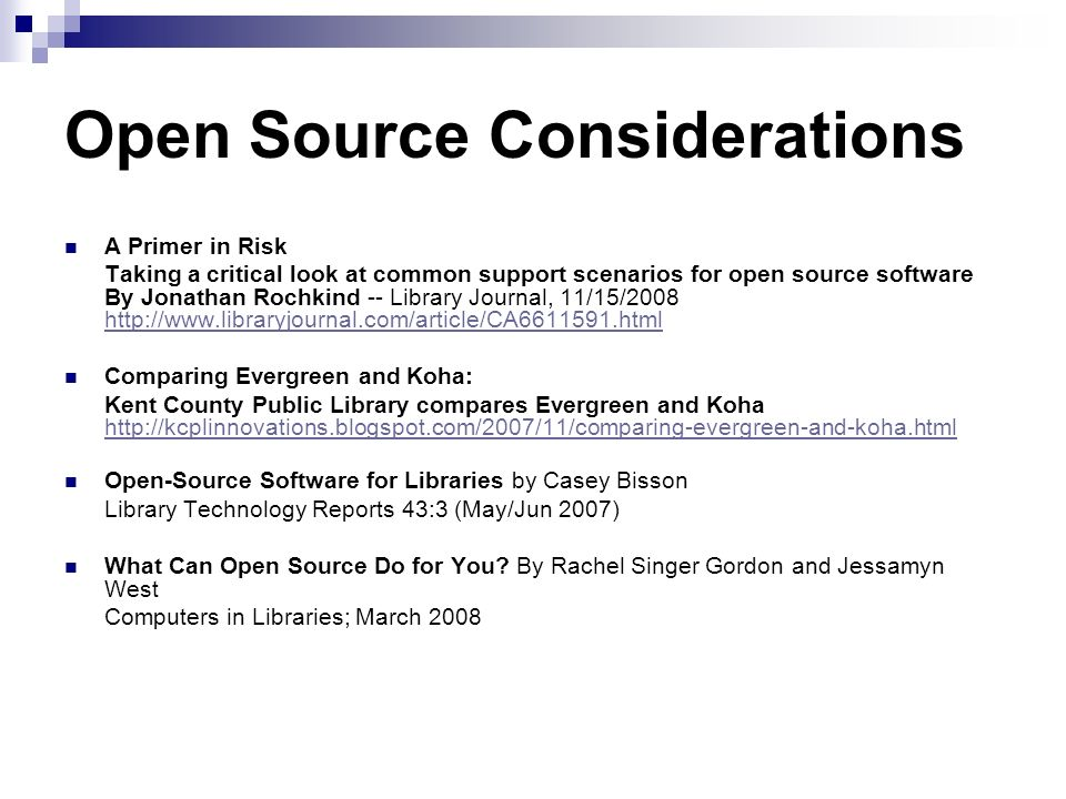 Open Source Considerations