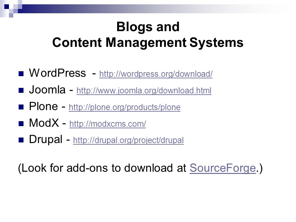 Blogs and Content Management Systems