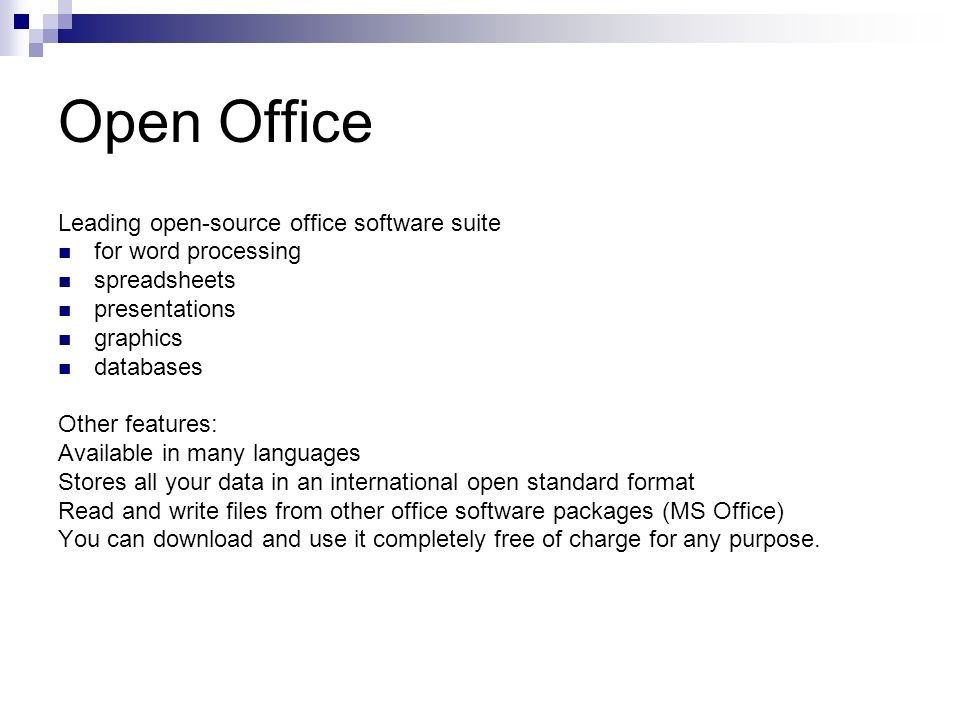 Open Office Leading open-source office software suite