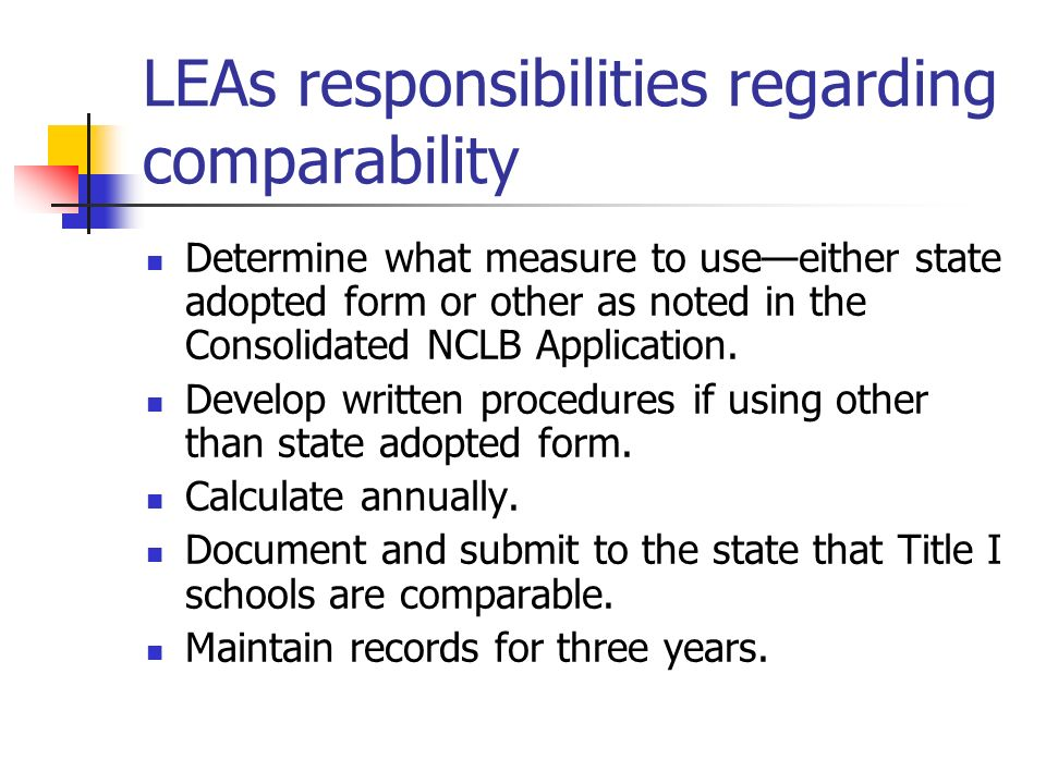 LEAs responsibilities regarding comparability