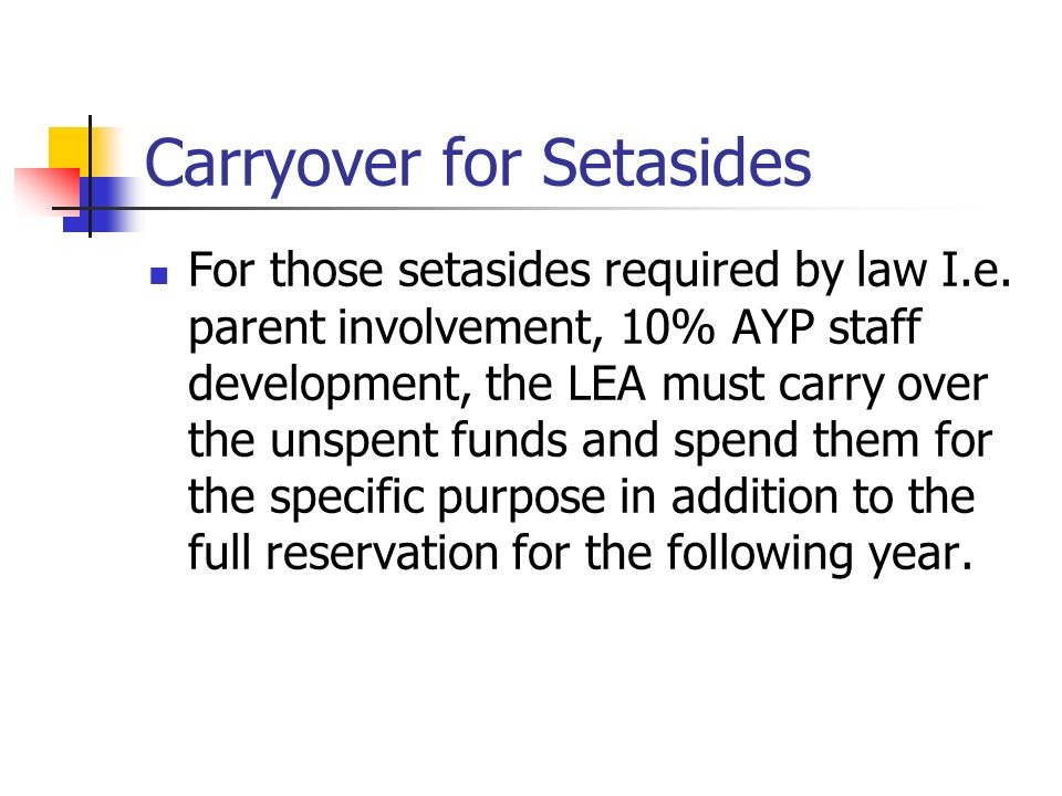 Carryover for Setasides
