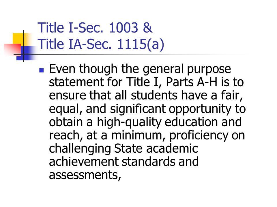 Title I-Sec. 1003 & Title IA-Sec. 1115(a)