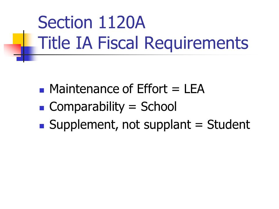 Section 1120A Title IA Fiscal Requirements
