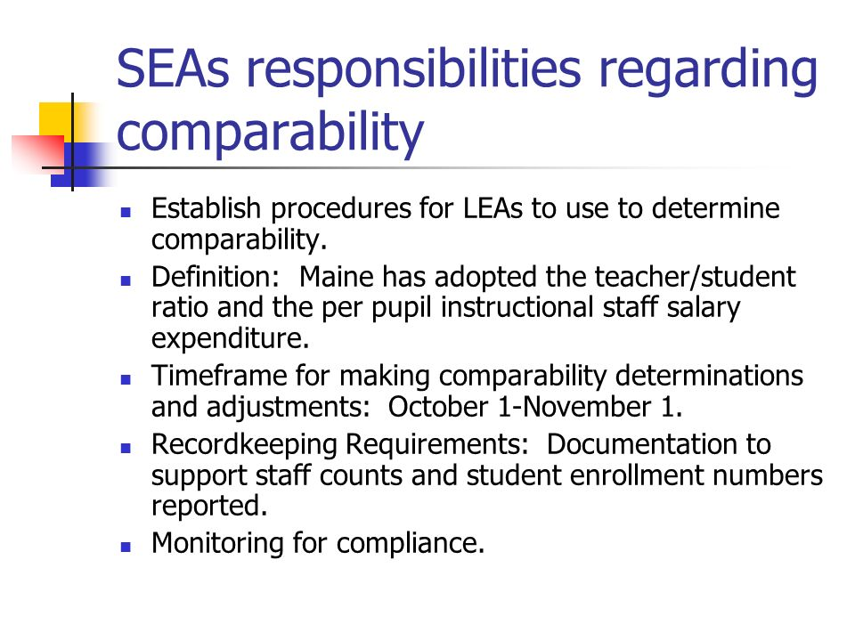 SEAs responsibilities regarding comparability