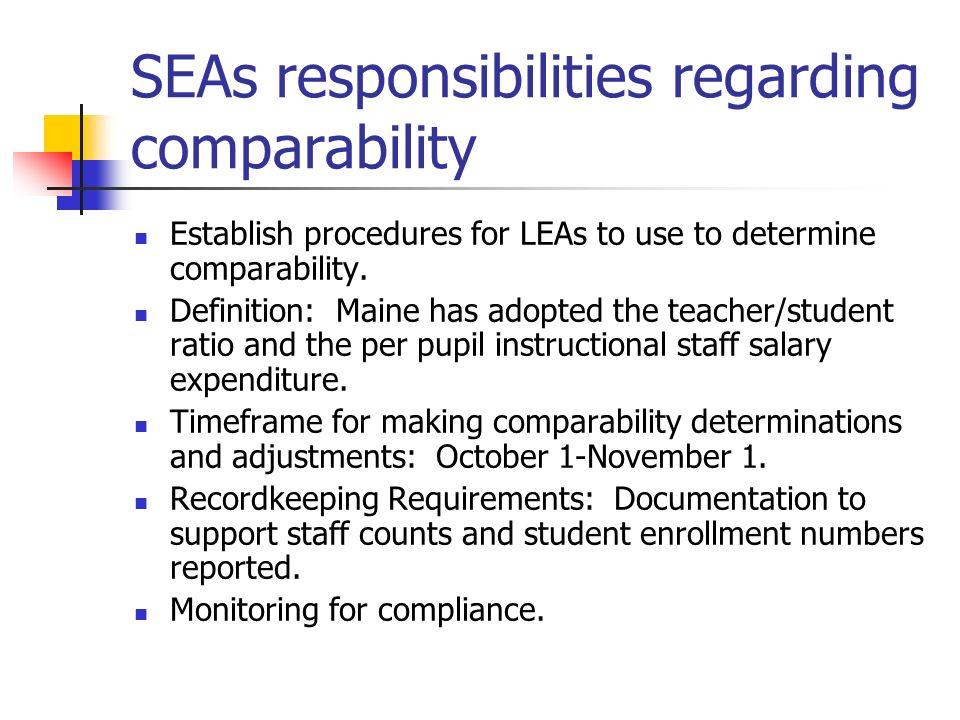 SEAs responsibilities regarding comparability