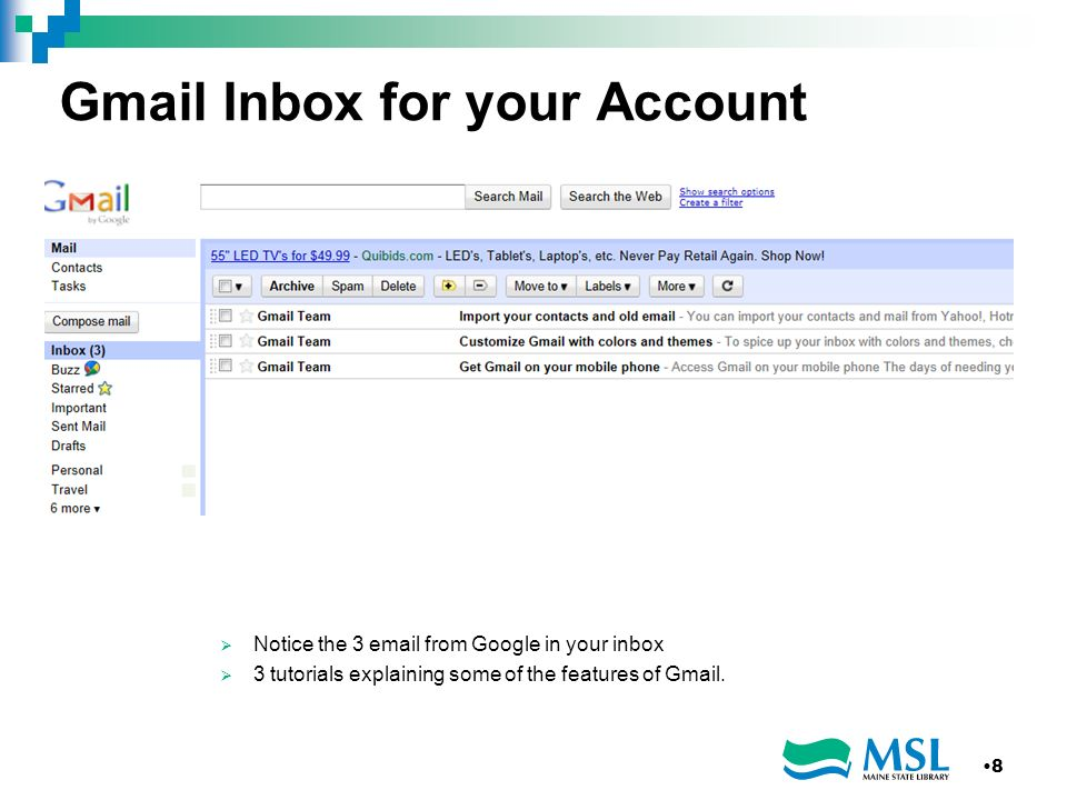 Gmail Inbox for your Account