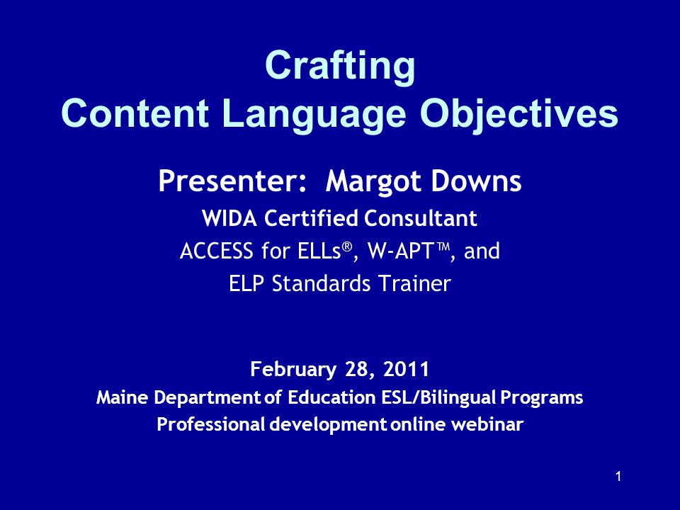 Crafting Content Language Objectives