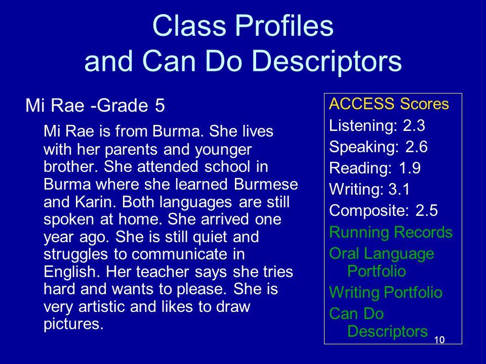 Class Profiles and Can Do Descriptors