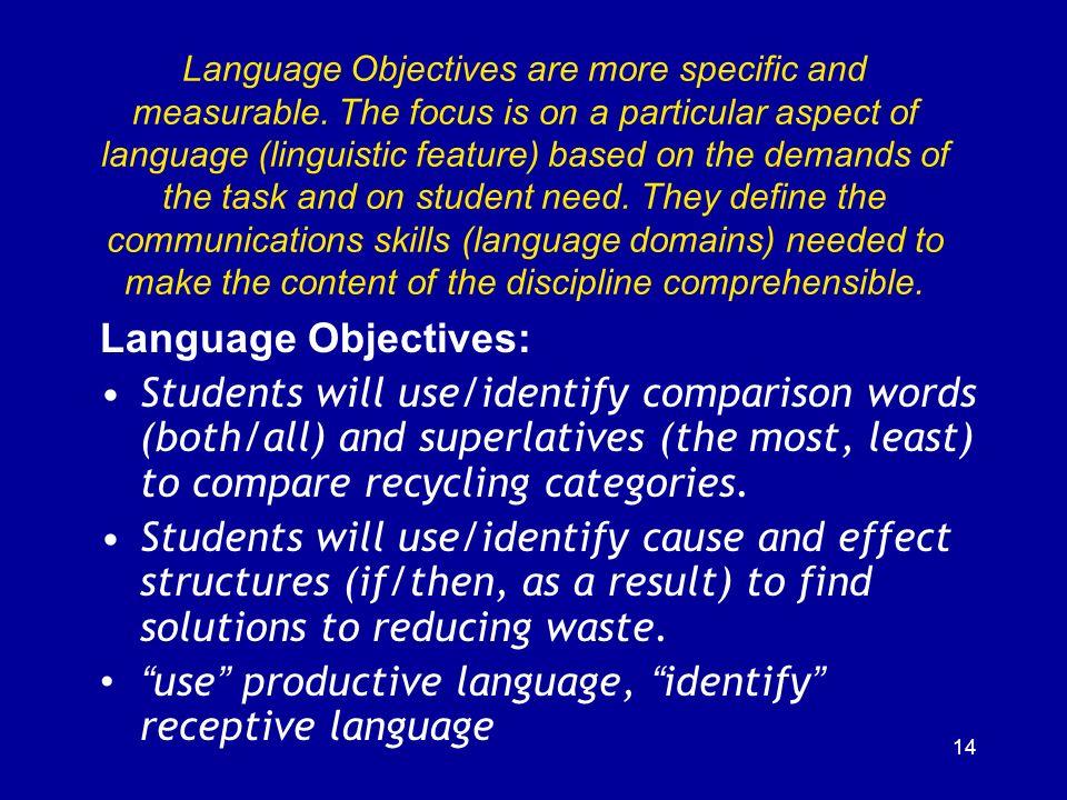 use productive language, identify receptive language