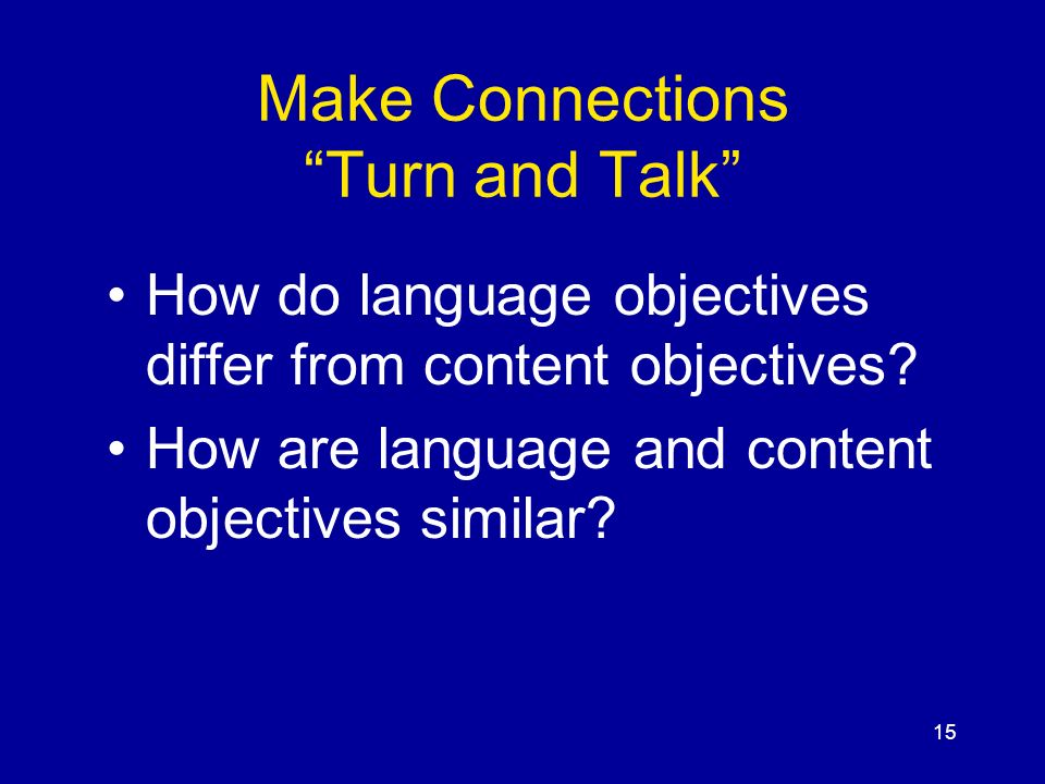 Make Connections Turn and Talk