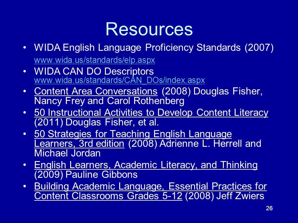 Resources WIDA English Language Proficiency Standards (2007)