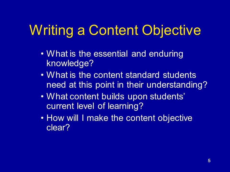 Writing a Content Objective