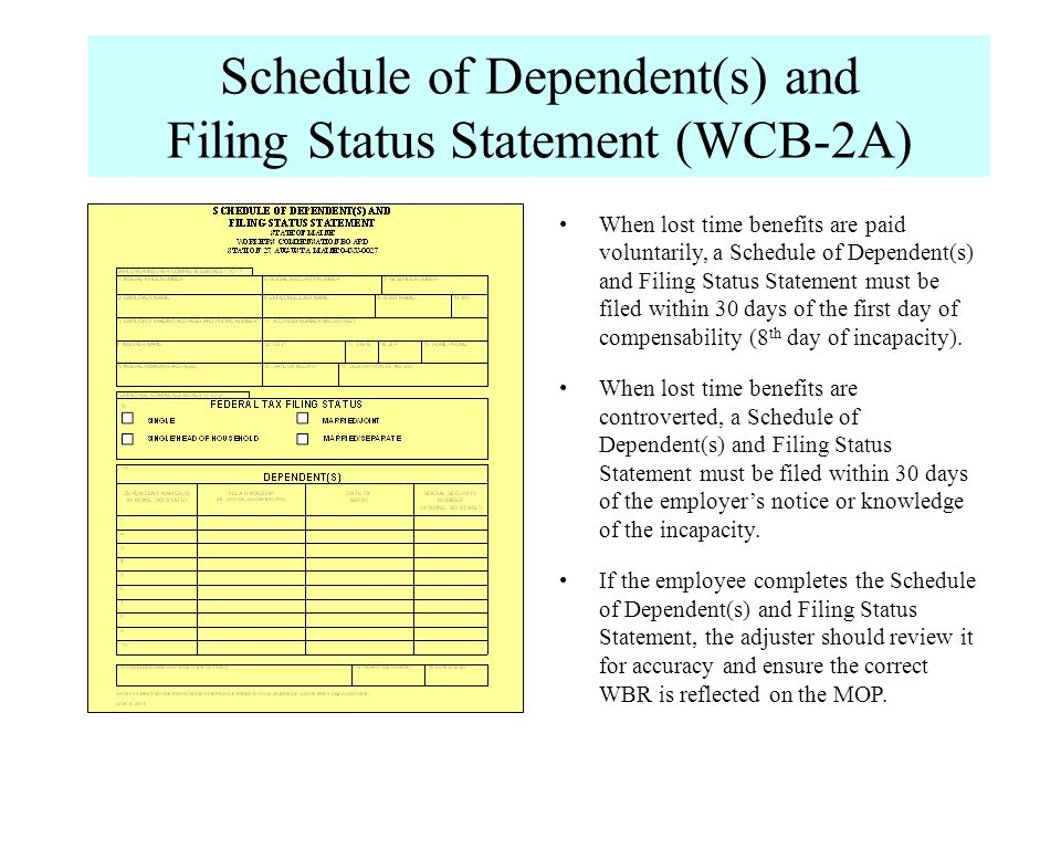 Schedule of Dependent(s) and Filing Status Statement (WCB-2A)