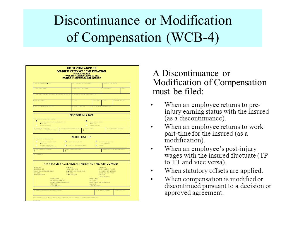 Discontinuance or Modification of Compensation (WCB-4)