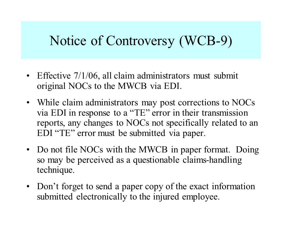 Notice of Controversy (WCB-9)