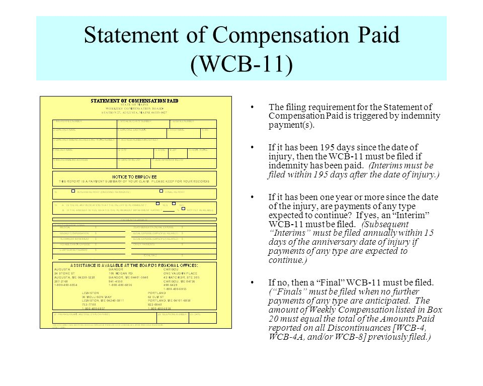 Statement of Compensation Paid (WCB-11)