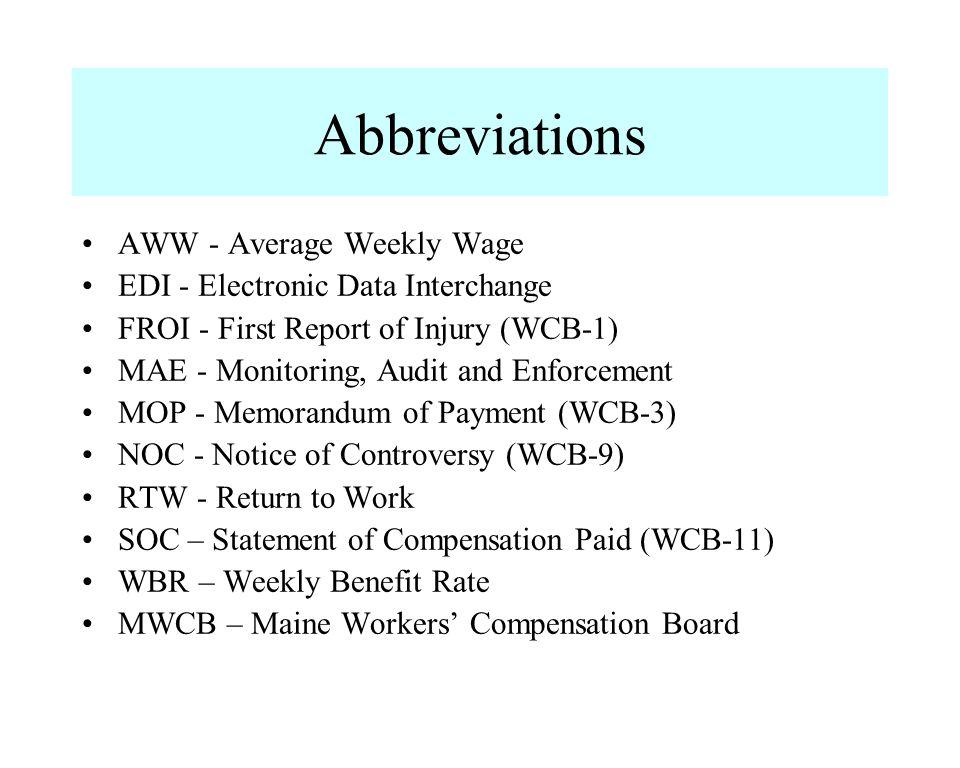Abbreviations AWW - Average Weekly Wage