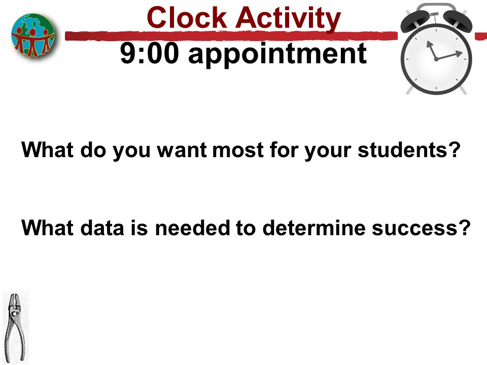 Clock Activity 9:00 appointment