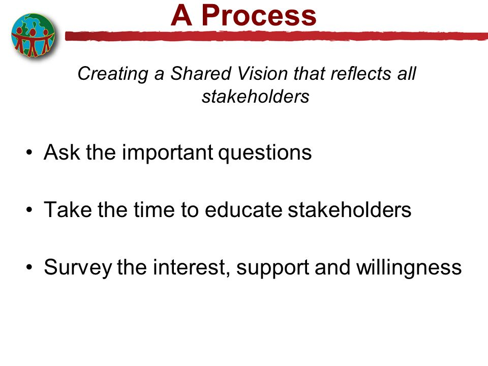 Creating a Shared Vision that reflects all stakeholders
