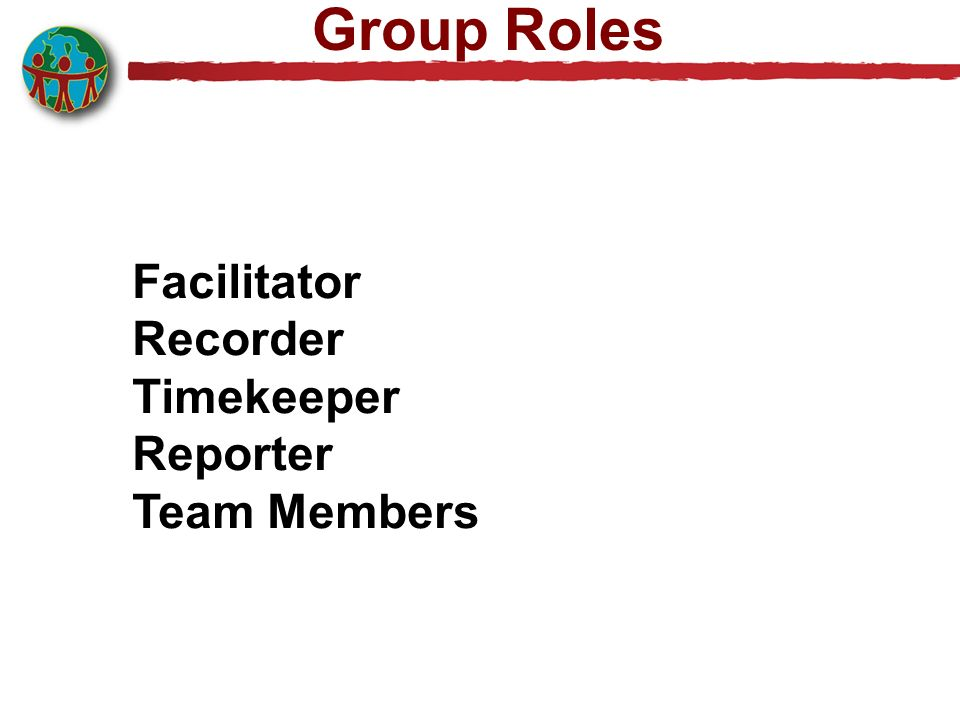 Group Roles Facilitator Recorder Timekeeper Reporter Team Members