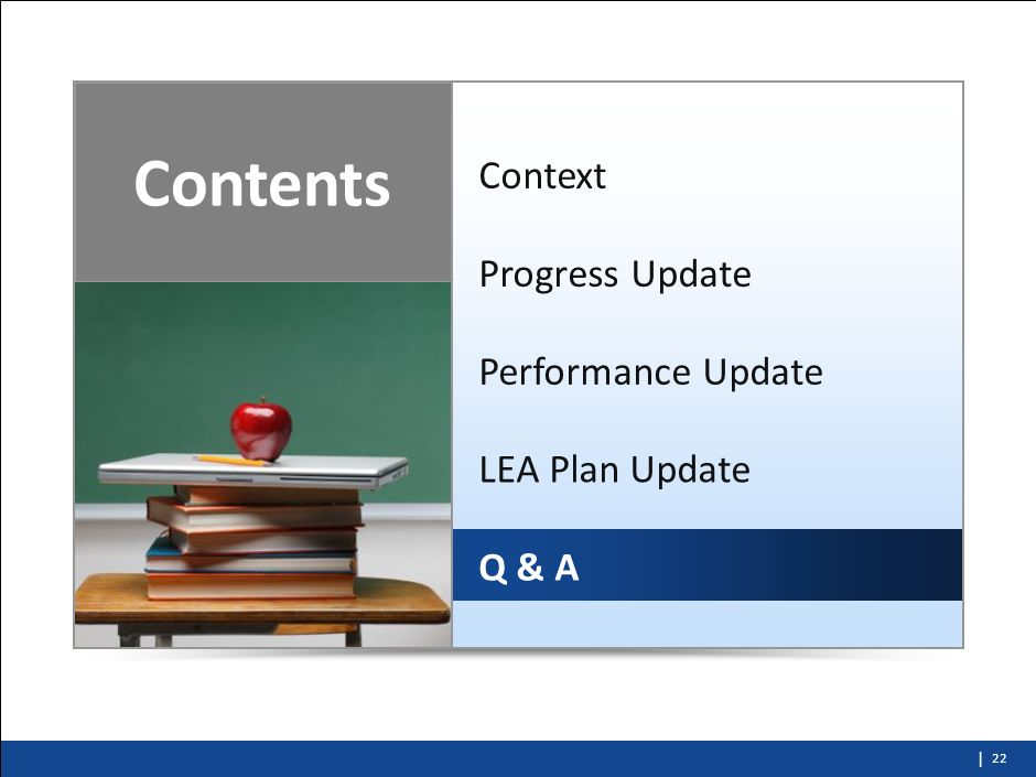 Contents Context Progress Update Performance Update LEA Plan Update