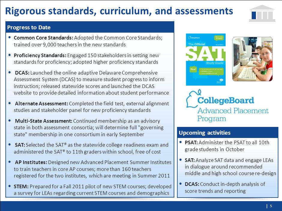 Rigorous standards, curriculum, and assessments