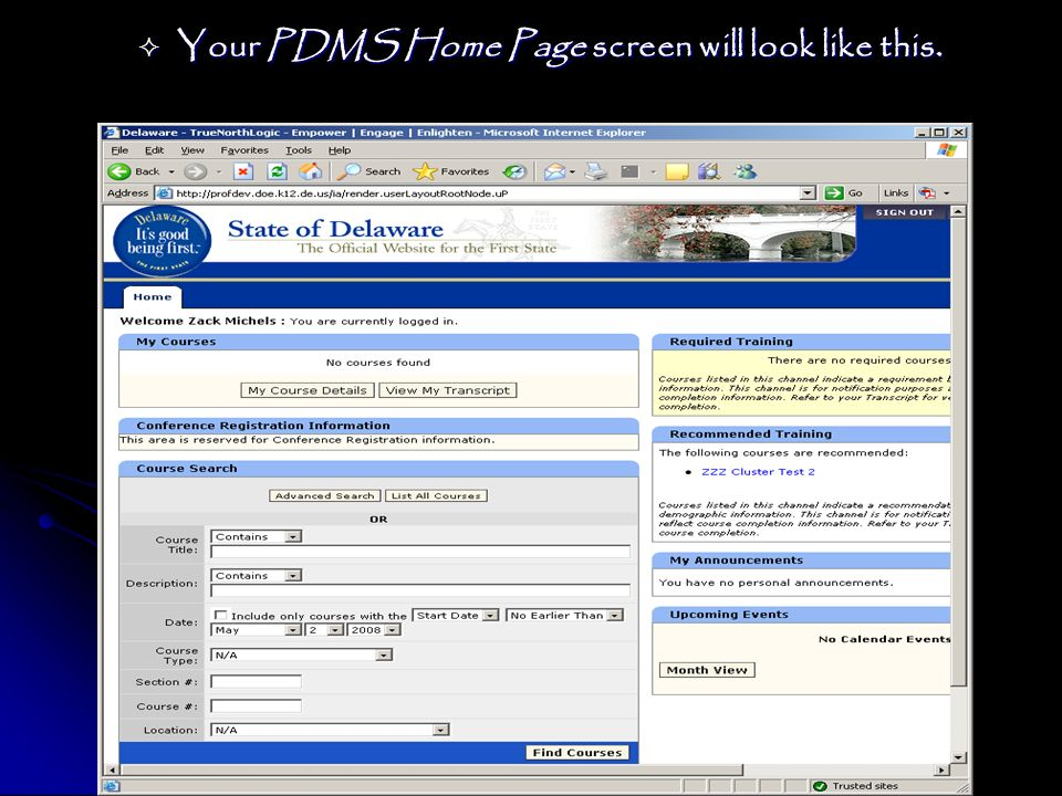 Your PDMS Home Page screen will look like this.