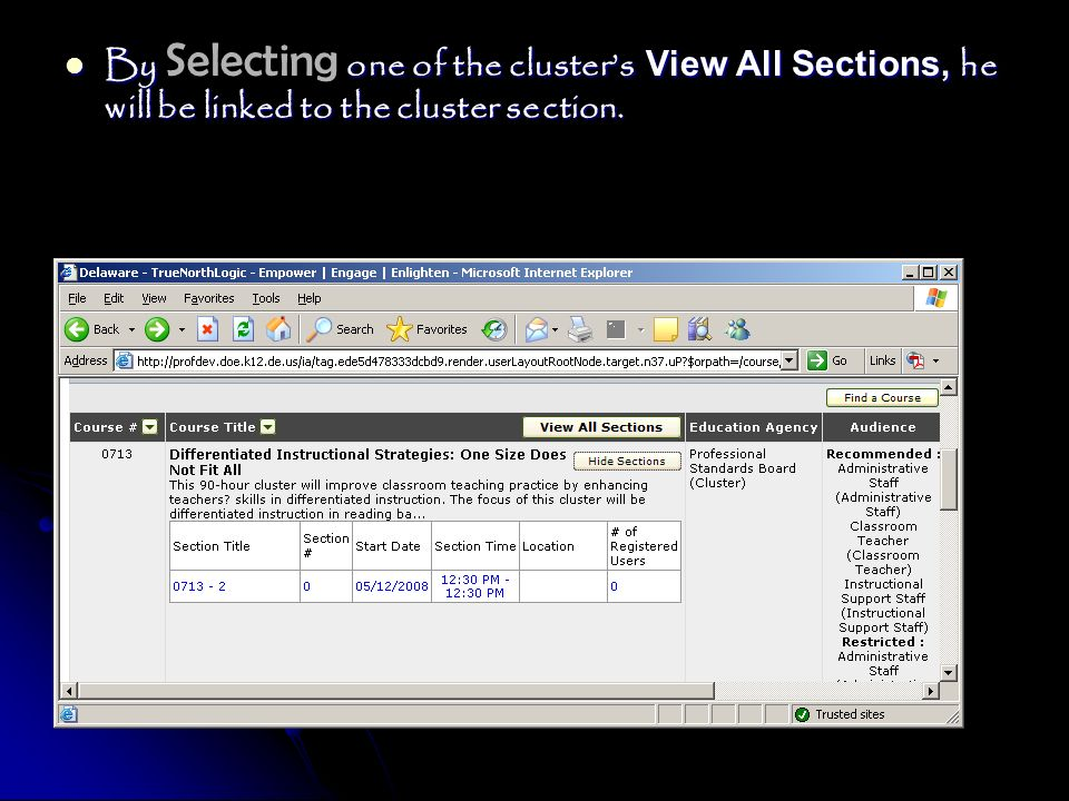 By Selecting one of the cluster's View All Sections, he will be linked to the cluster section.