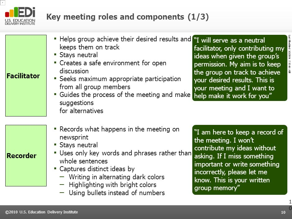 Key meeting roles and components (1/3)