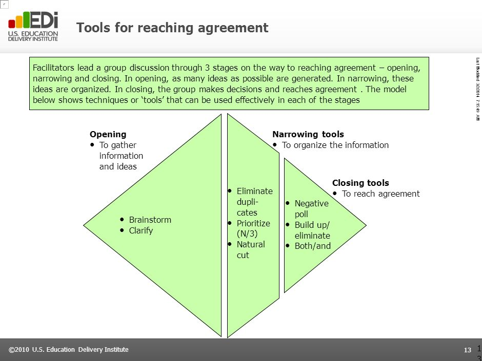 Tools for reaching agreement