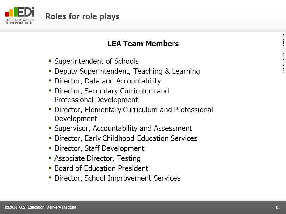 Roles for role plays LEA Team Members Superintendent of Schools