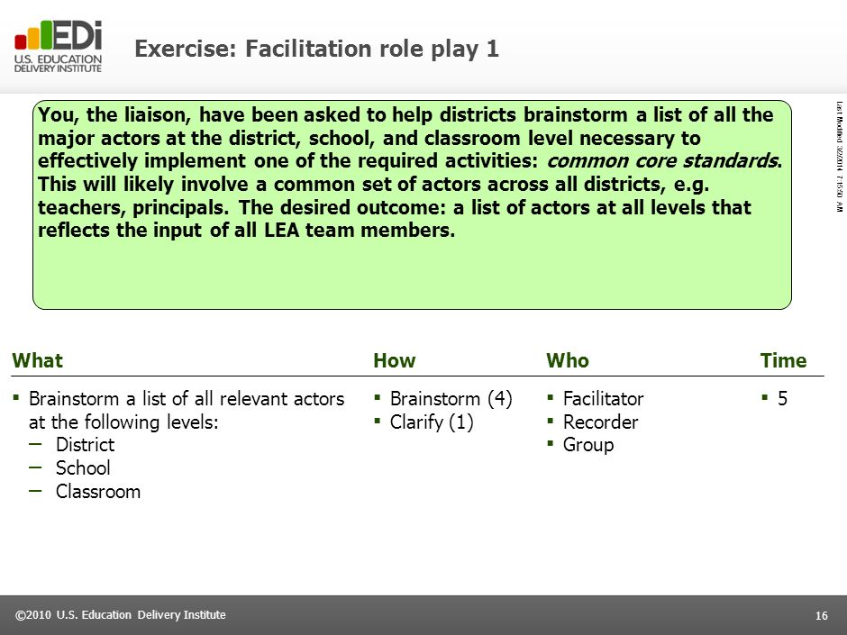 Exercise: Facilitation role play 1