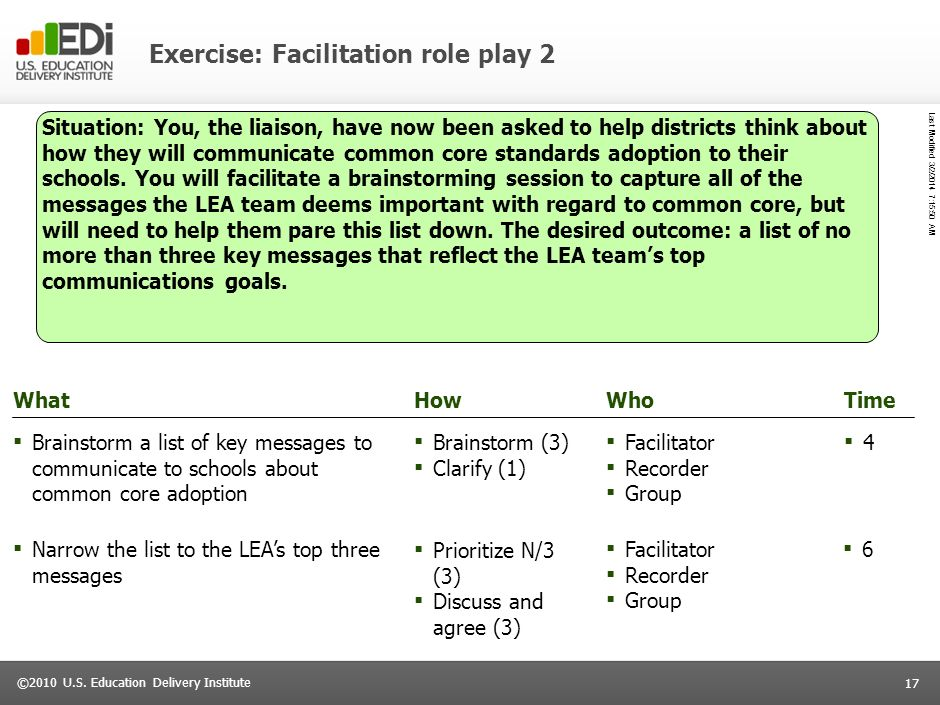 Exercise: Facilitation role play 2