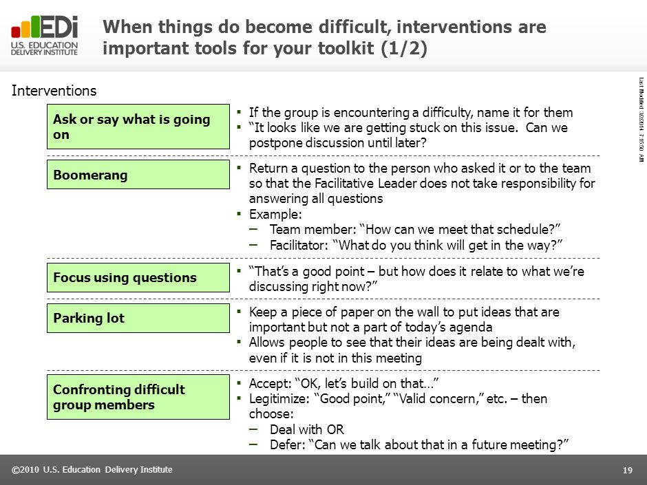 When things do become difficult, interventions are important tools for your toolkit (1/2)