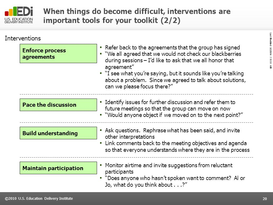 When things do become difficult, interventions are important tools for your toolkit (2/2)