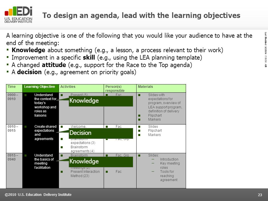 To design an agenda, lead with the learning objectives