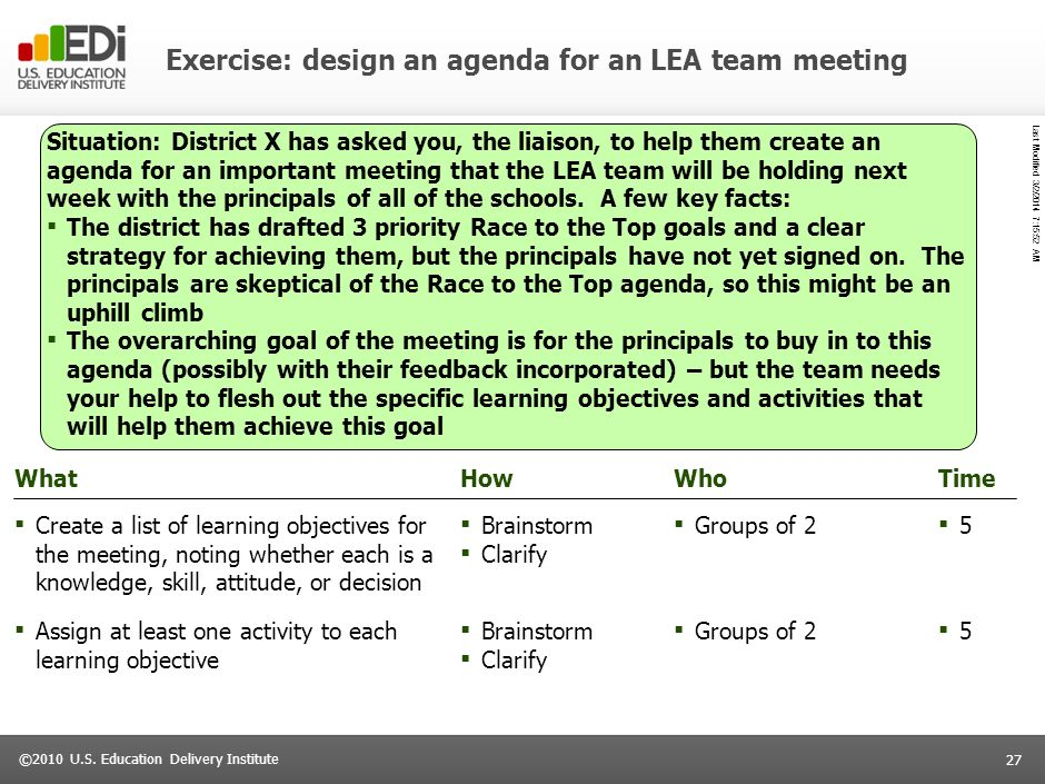 Exercise: design an agenda for an LEA team meeting