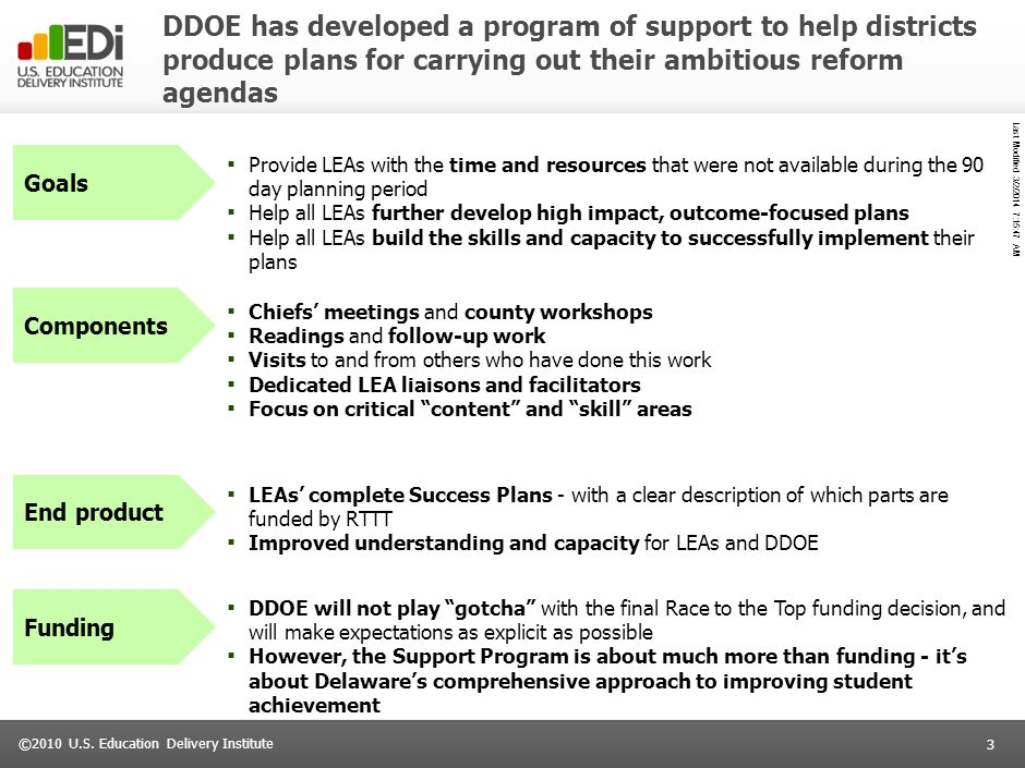 DDOE has developed a program of support to help districts produce plans for carrying out their ambitious reform agendas