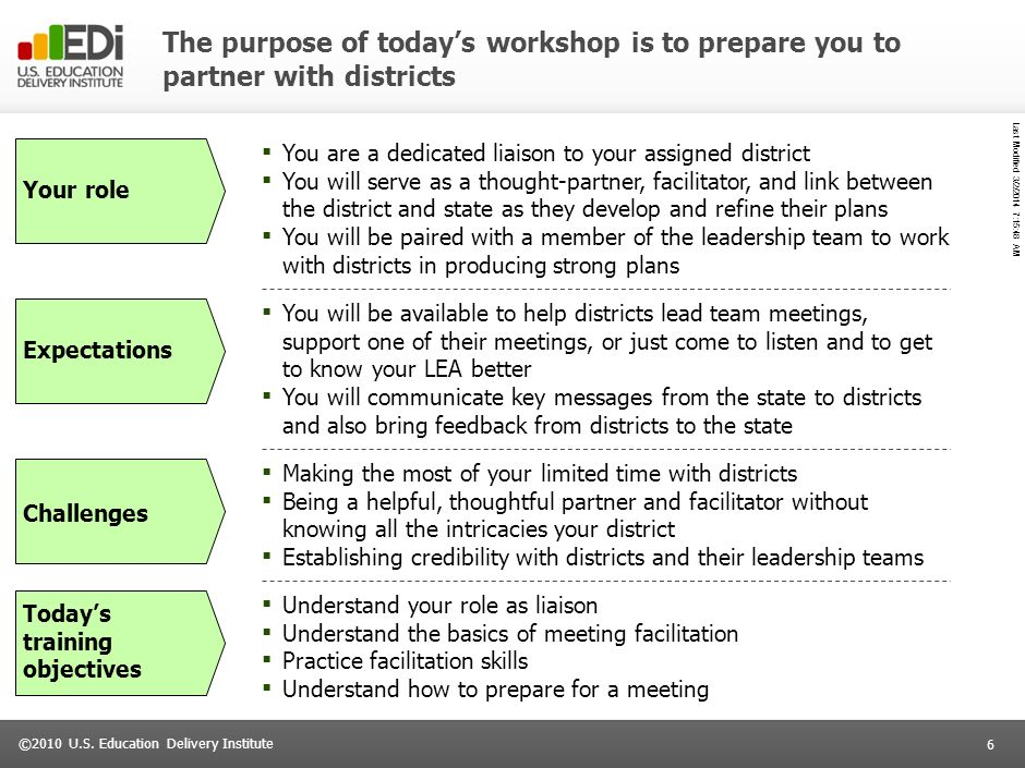 The purpose of today's workshop is to prepare you to partner with districts