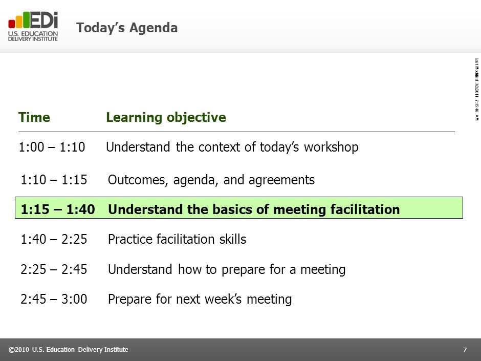 Today's Agenda Time. Learning objective. 1:00 – 1:10. Understand the context of today's workshop.