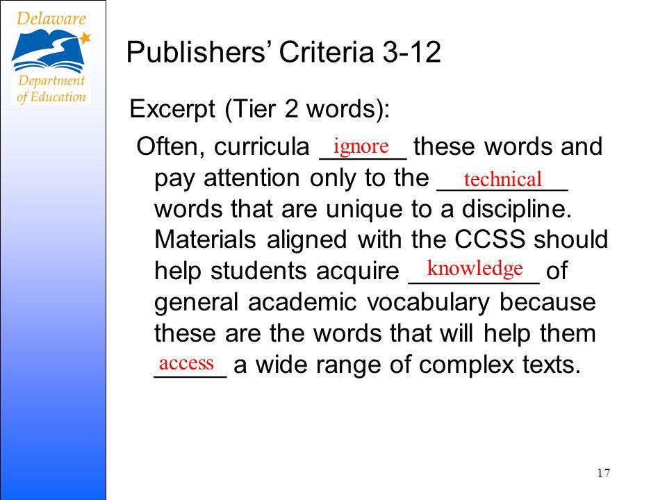Publishers' Criteria 3-12