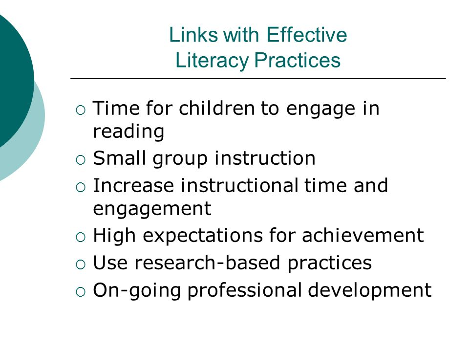 Links with Effective Literacy Practices