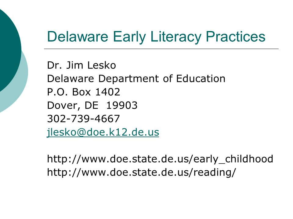 Delaware Early Literacy Practices