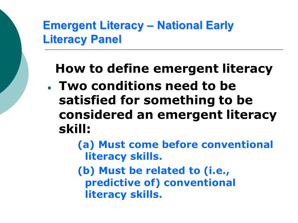 Emergent Literacy – National Early Literacy Panel