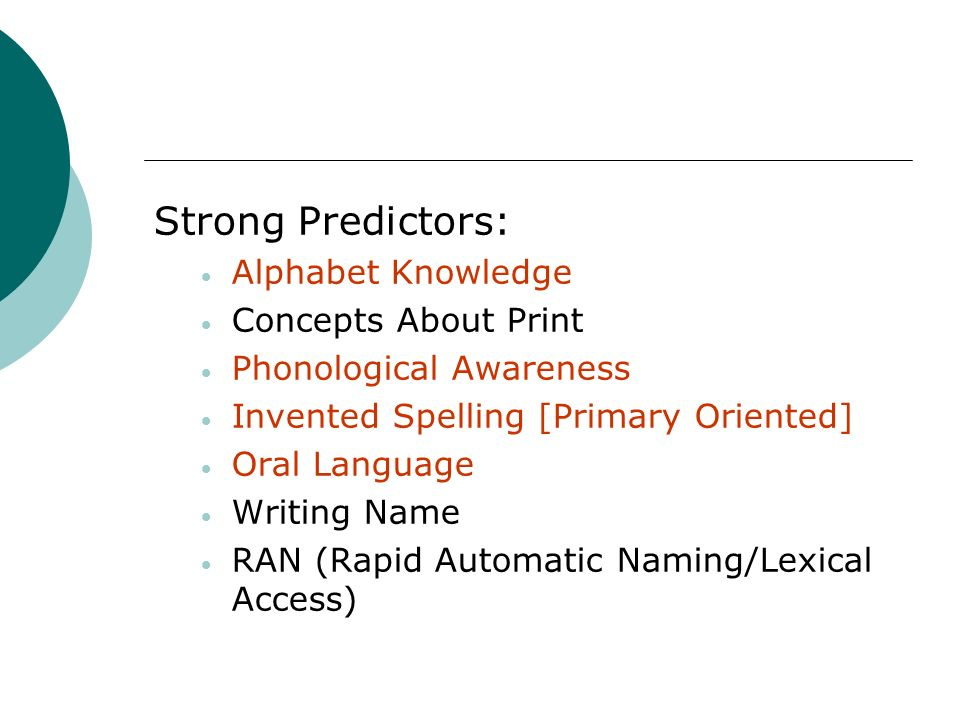 Strong Predictors: Alphabet Knowledge Concepts About Print