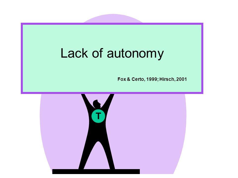 Lack of autonomy Fox & Certo, 1999; Hirsch, 2001 T