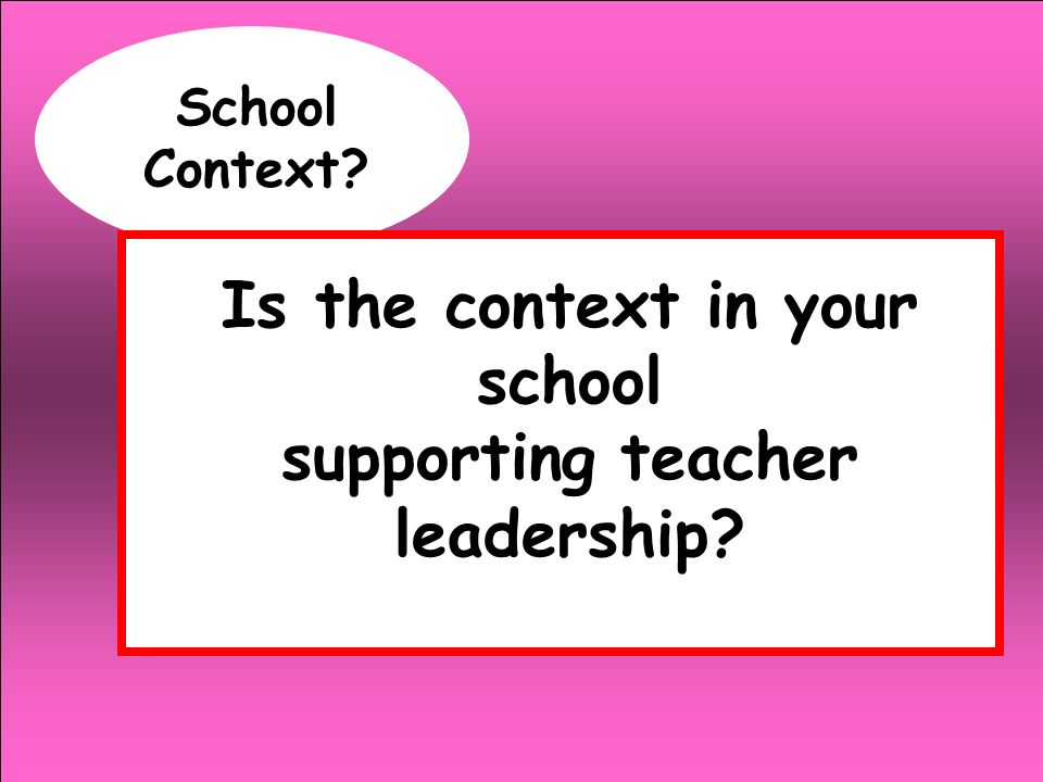 Is the context in your school supporting teacher leadership